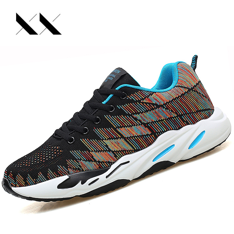 Running Shoes Men Air Mesh Breathable Fly Weave Cushion Sneakers Sport Jogging Shoes Outdoor Walking Athletic Mens Trainers Red