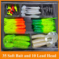 35 soft bait small 10 lead head hook lure combination set soft fishing lure set soft bait fishing tackle For Outdoor Sports