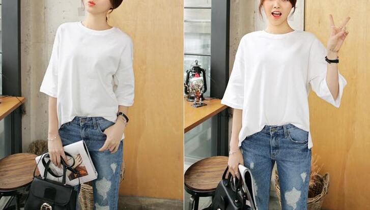 2018 Women's T-shirt Summer Plus Size Tee Basic Shirts Women Loose O Neck Short Sleeve Long Casual pure  Female Tops Femme