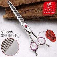 Tesoura de desbaste fenice japonesa 440c, aço inoxidável, 6.5 polegadas, 6.75 polegadas, para animais de estimação, rosa, tesoura de desbaste, taxa de 35%