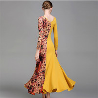 latin ballroom dress standard viennese waltz dress women dance costumes ballroom practice wear spanish dress Flamengo yellow