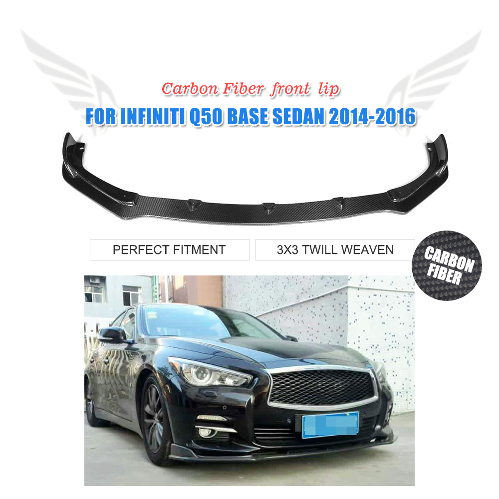 Carbon Fiber Front Bumper lip Chin Spoiler for infiniti Q50 Standard 2014 2015 2016 Car Styling