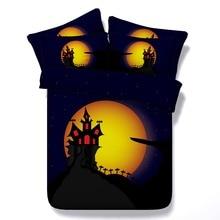 6 Parts Per Set Bed Sheet Set  Halloween Cartoon Spooky House 3d Bed Set