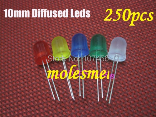 250PCS 5 value 10mm diffused red,yellow,blue,green,white R,G,B,W,Y,LED mixed colors led 50pcs each color