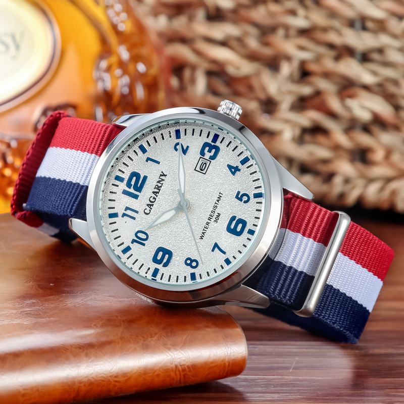 fashion nylon weaved watchband cagarny watches for men (4)