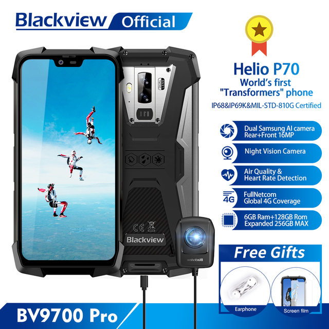 Blackview BV9700 פרו Helio P70 6GB + 128GB אנדרואיד 9.0 Smartphone 16 + 8MP ראיית לילה מצלמה כפולה IP68 עמיד למים טלפון נייד