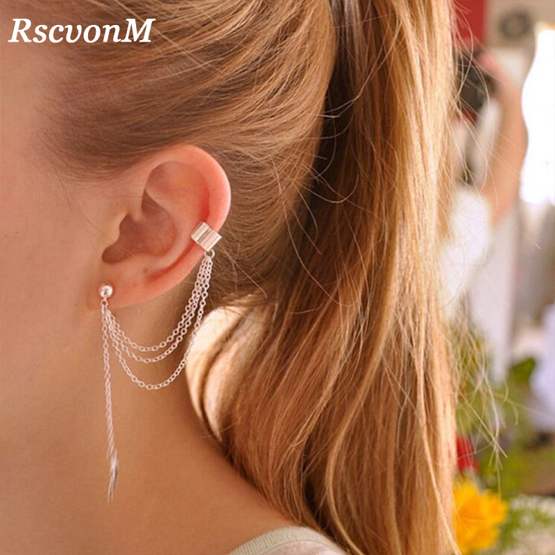 RscvonM Fashion Personality Metal Ear Clip Single Leaf Tassel Earrings Cuff Women And Girls Caught In The Ear Ear Cuffs Jewelry