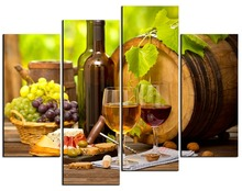 4 panel Modern Vins Canvas Paintings Red Wine Cup Bottle Wall Art Painting Set Bar Dinning