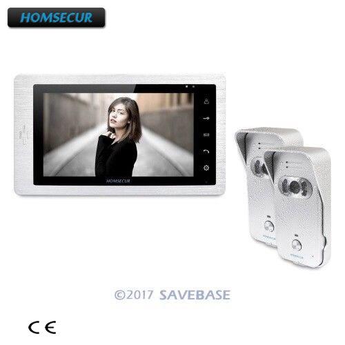 HOMSECUR 7 Video Door Entry Security Intercom+Silver Camera 2C1M for Apartment homsecur 9 video door entry security intercom ultra large screen monitor 2c1m