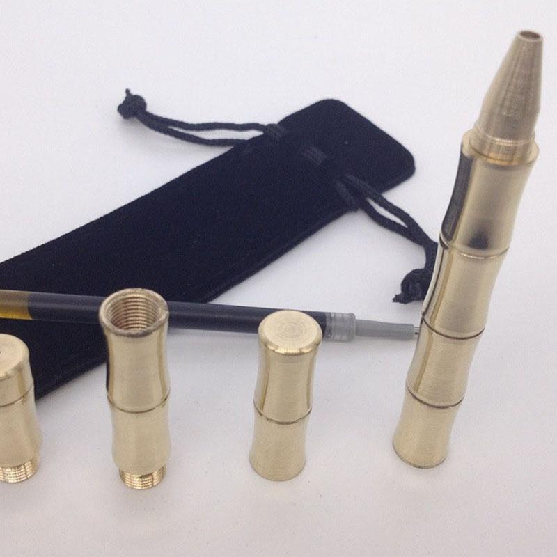 Bamboo shape tactical pen portable self defense handmade brass marker out tTPO