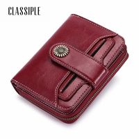 Fashion Short Women Wallet Female Cow Split Leather Wine Red Coin Purse Pockets Mini Walet 2018 Short Girl Buckle Wallet Ladies