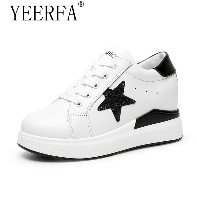 YIERFA 2017 Spring Autumn Fashion Bling Star Height Increasing Casual Shoes Woman Lace up Platform Hidden Wedges Student Shoes lanshulan bling glitters slippers 2017 summer flip flops platform shoes woman creepers slip on flats casual wedges gold