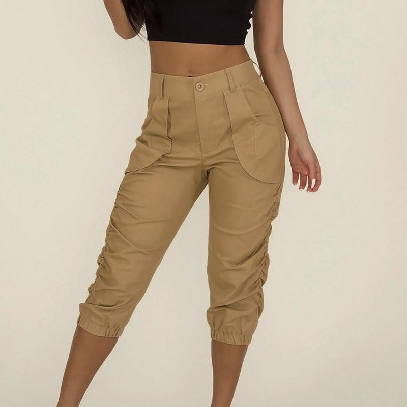 Female Elastic Pants capris Ladies Cropped Capri Womens Summer High Waist Solid Color Pockets Pants Calf-length Pencil Trousers
