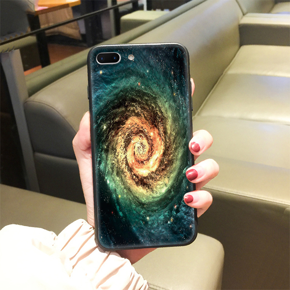 TOMKAS Star Sky Pattern Glass Case For iPhone X 7 8 6 6 s Cover Phone Cases For iPhone 7 8 6 6s Plus X Case Silione TPU PC Coque (22)