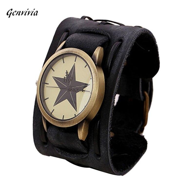 2018 new fashion watch designer men watches orologio uomo best mens watch Retro Punk Rock Big Wide PU Leather Men Watch
