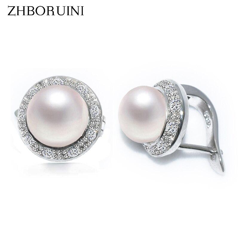 ZHBORUINI 2019 nouvelles boucles d'oreilles en perles 925 bijoux en argent Sterling Style Vintage boucles d'oreilles en perles d'eau douce naturelles pour femmes cadeau