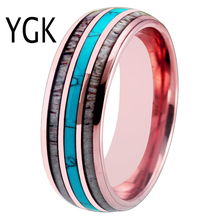 Fashion Wedding Rings FOR Women 8MM Rose Gold Tungsten Antler Turquoise Inlay for Men Engagement Anniversary Gift