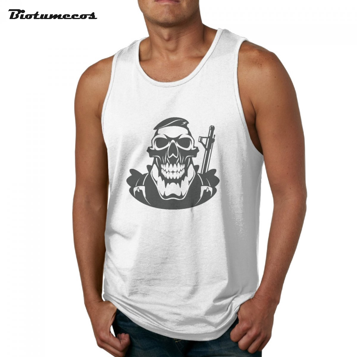 Newest Summer Men Tank Tops Skeleton Warrior Printed Male Retro Style Casual Cotton Vest MBXKL009