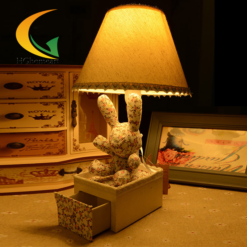 Floral cloth rabbit drawer creative cartoon desk lamp children's room table lamp bedroom lamp bedside lamp garden doll m sparkling td303 creative cartoon 3d led lamp