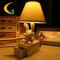 Floral paño cajón conejo creativo de dibujos animados lámpara de escritorio lámpara de mesa lámpara de noche la lámpara del dormitorio del sitio de niños del jardín de la muñeca