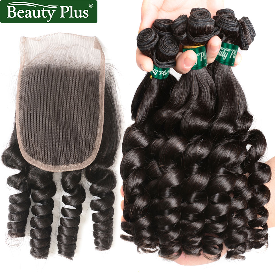 Funmi Curly Bundles With Closure Tight Spiral Curl Remy Hair Extensions Beauty Plus Brazilian Curly Hair
