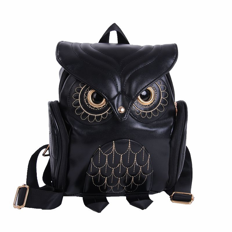 Fashion Cute Owl Backpack Women Cartoon School Bags For Teenagers Girls PU Leather Women Backpack 2017