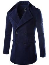 2016 Новая Зимняя мужская Повседневная двубортный шерстяное пальто куртки Англии мужская Slim Fit Мода Теплая Куртка пальто Шинель