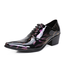 2017 New Arrival Summer Style Oxfords Shoes Men Genuine Leather Lace-up High Heels Wedding and Party Shoes Purple Men's Flats
