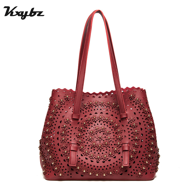 KXYBZ Women Bag 2018 Vintage Hollow Out Women Handbag Floral Print Shoulder Bags Ladies PU Leather Tote Bag Summer New K1056 sweet floral print spaghetti strap hollow out dress swimwear for women