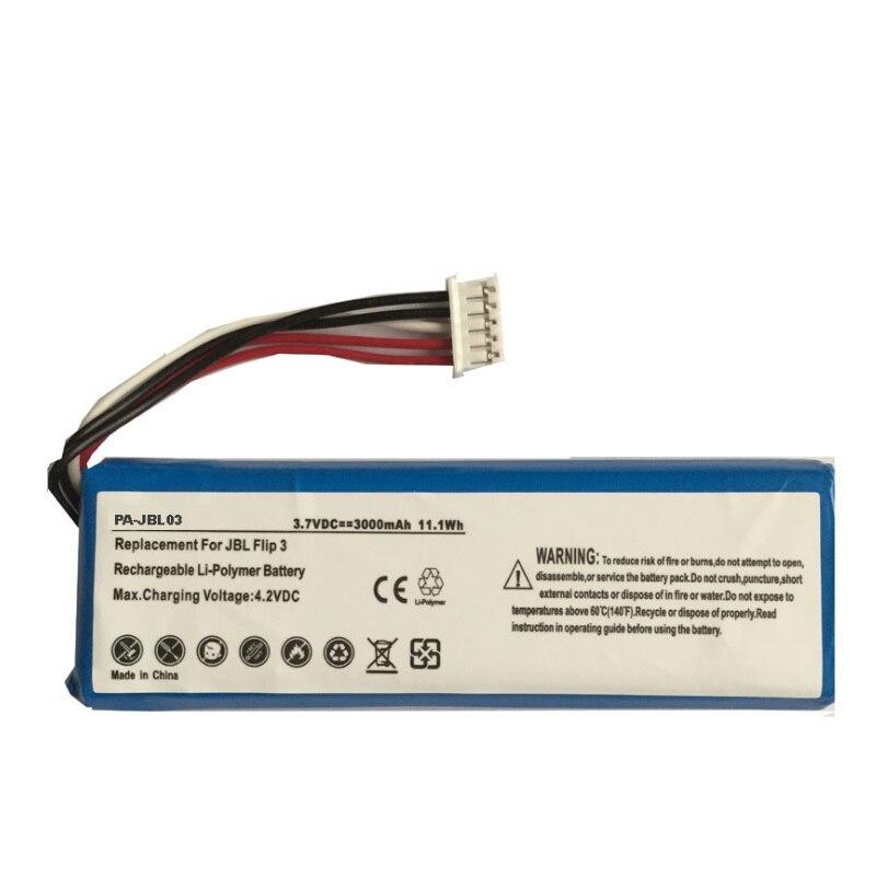 3000mAh Battery for JBL Flip 3 Speaker Bateria Rechargeable 3.7V Li-Polymer Lithium Polymer Accumulator GSP872693+Track Code 3 7v lithium polymer battery 4070100 3000mah battery pocket pc source newman f70