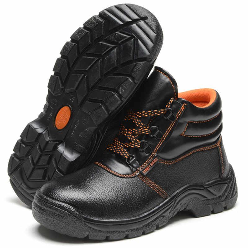 Askeri Savaş erkek Yüksek Üst Açık Çelik Ayak Anti Smashing iş çizmeleri deri ayakkabı Erkekler Demir Burun anti-delinme Güvenlik ayakkabı