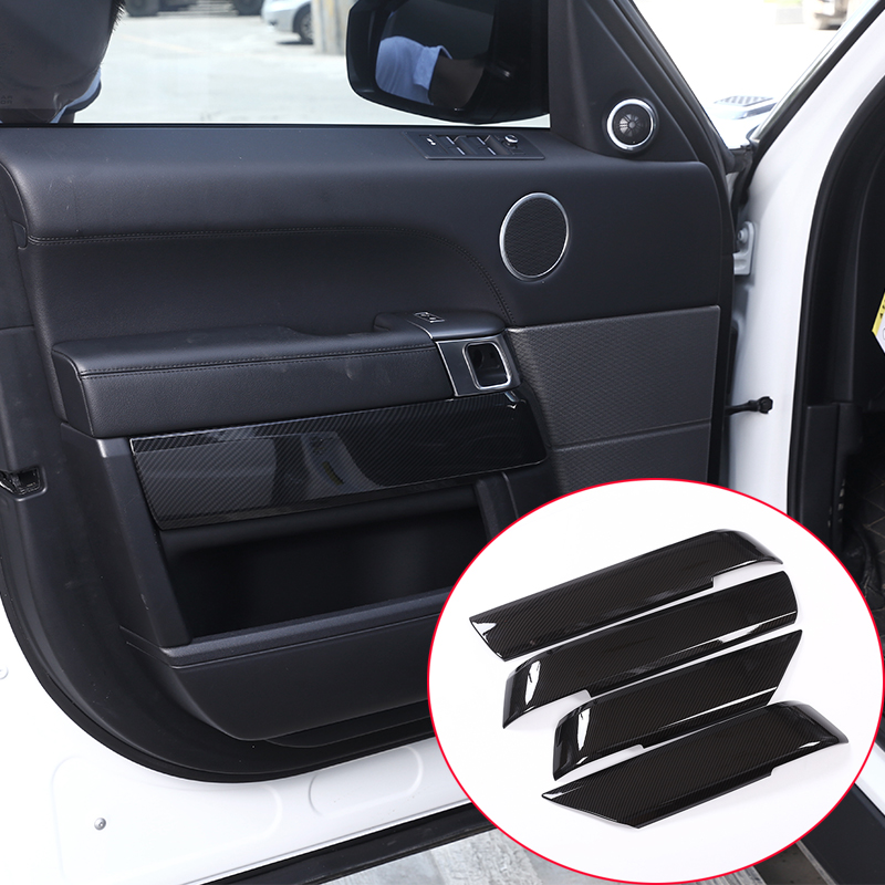4pcs Carbon Fiber Style ABS Plastic Inner Door Decoration Cover Trim For Landrover Range Rover Sport RR Sport 2014 2017 NEW!!