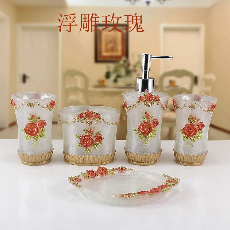 Red Rose Resin Bathroom Accessories Sets Soap Holder Dispenser Toothpaste Holders Tumblers Para Accessory In From
