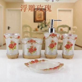 Red Rose Resin Bathroom Accessories Sets/soap holder/soap dispenser /Toothpaste Holders/Bathroom Tumblers/Para Accessory