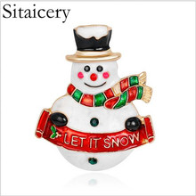 Sitaicery 2019 Brooches Xmas Snowman Brooch Pin Christmas Gifts For Women Men Charm New Year Accessories Crystal Rhinestone Pins