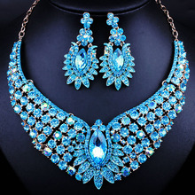 African beads Crystal Rhinestones Peacock Shaped Necklace and Earrings Luxury Nigerian wedding Jewelry Sets