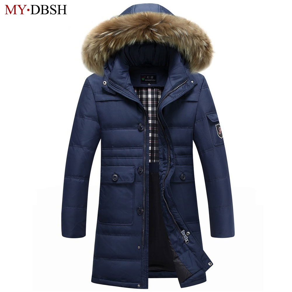 Winter Warm Hooded Men Down Jackets Casual X-Long Duck Down Parkas & Jacket Thicken Outwear Fashion Solid Parkas Free Shipping