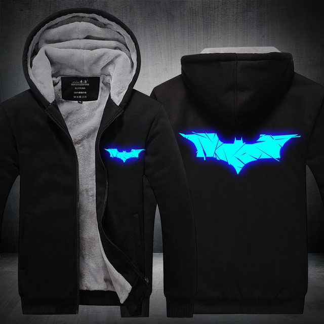 2017 Winter New Jackets BATMAN hoodie Anime Luminous Men Hooded Thick Zipper Coats USA EU size Plus size