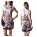 Las nuevas señoras del verano vestidos 2017 vestidos de la manera mujeres de manga corta floral bird impreso vestidos de fiesta informal
