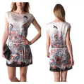 New Ladies Summer Dresses 2017 Fashion Vestidos Women Short Sleeves Bird Floral Printed Casual Party Dresses