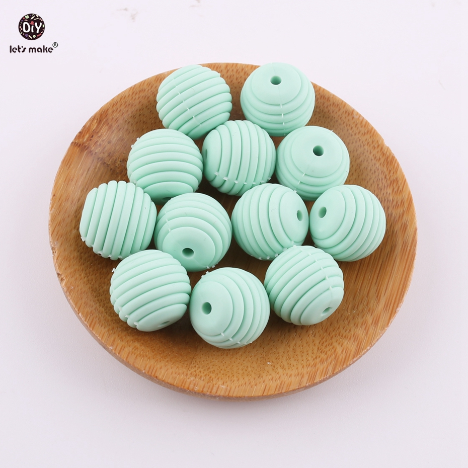 Lets Make Mint Color Spiral Beads 5pcs 15mm Silicone Round DIY Nursing Jewelry Accessories Beads BPA Free Baby Teether