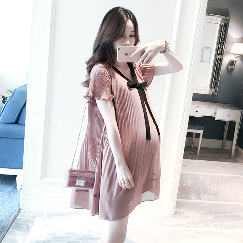 New Summer Pleated Expectant Mother Casual Lace Dress Loose Maternity Dress  Chiffon Stitching Pregnant Women Clothes Lavender