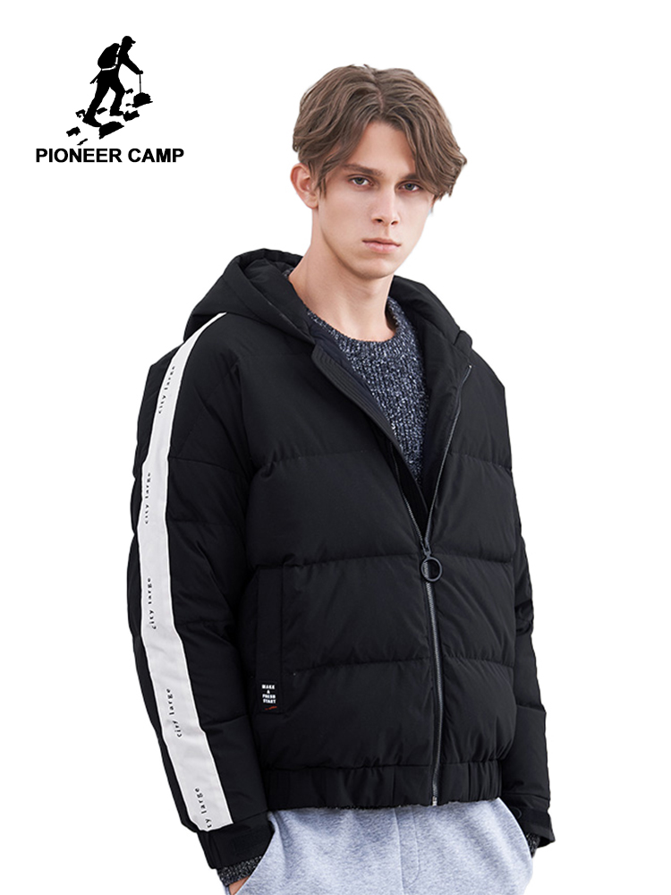 Pioneer Camp Fashion Stripe Men Down Jacket Brand Clothing Winter Duck Down Coat Male Top Quality Puffer Jacket AYR801429