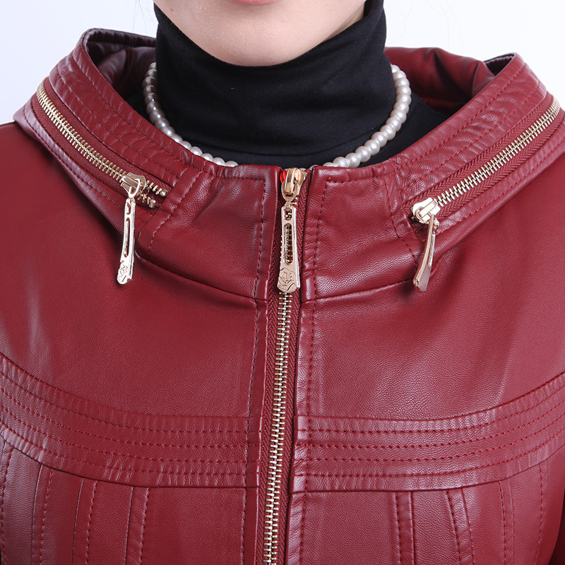 Plus black Wine Veste Cotton Okxgnz1163 À Wine brown Chaleur Automne Manteaux Coton La En brown D'âge Red red Cotton Moyen Hiver Vestes Cotton Capuchon Taille Femmes Pu Cuir black 6xl Le BBqwr4