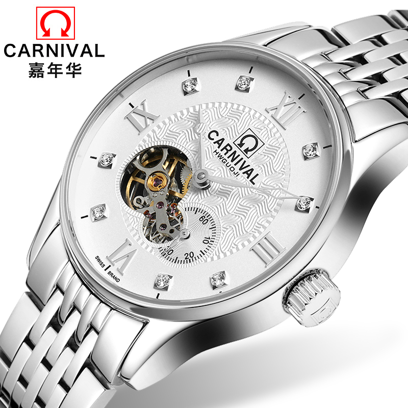 Carnival Tourbillon Mechanical Watch Men Classic Sapphire Hollow Dial Full Steel Waterproof Clock Reloj Hombre Relogio ailang tourbillon automatic mechanical watch men s waterproof 50m army sport watches men full steel luminous clock reloj hombre