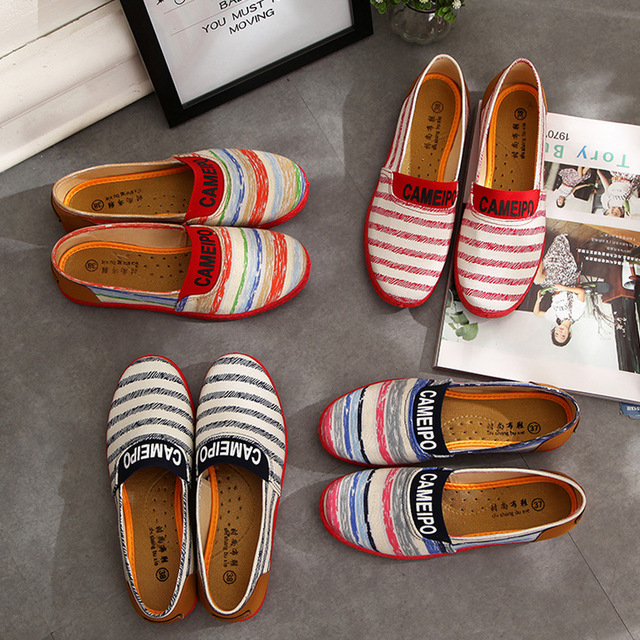 Новая Осень Женская Полосатый Обувь Удобная Случайных Скольжения На Женщин Свет Квартир Мокасины Холст Плоские Туфли Женщина Zapatos Mujer