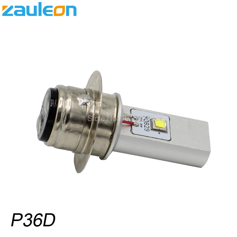 Zauleon 1pcs P36D BPF 6V 12V DC LED Motorcycle Headlight 20W 970LM White for Vintage Motor scooter P36D LED headlamp bulb