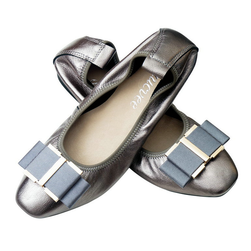 Big Size 35 43 Square Head Mother Shoes Women Genuine Leather Flat Ballerina Flats Ballet Shoes
