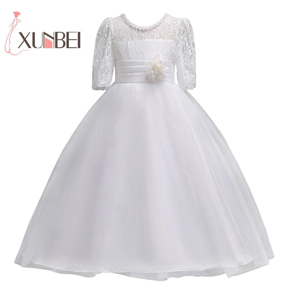 Lovely White Lace Flower Girl Dresses 2018 Half Sleeves Girls ...
