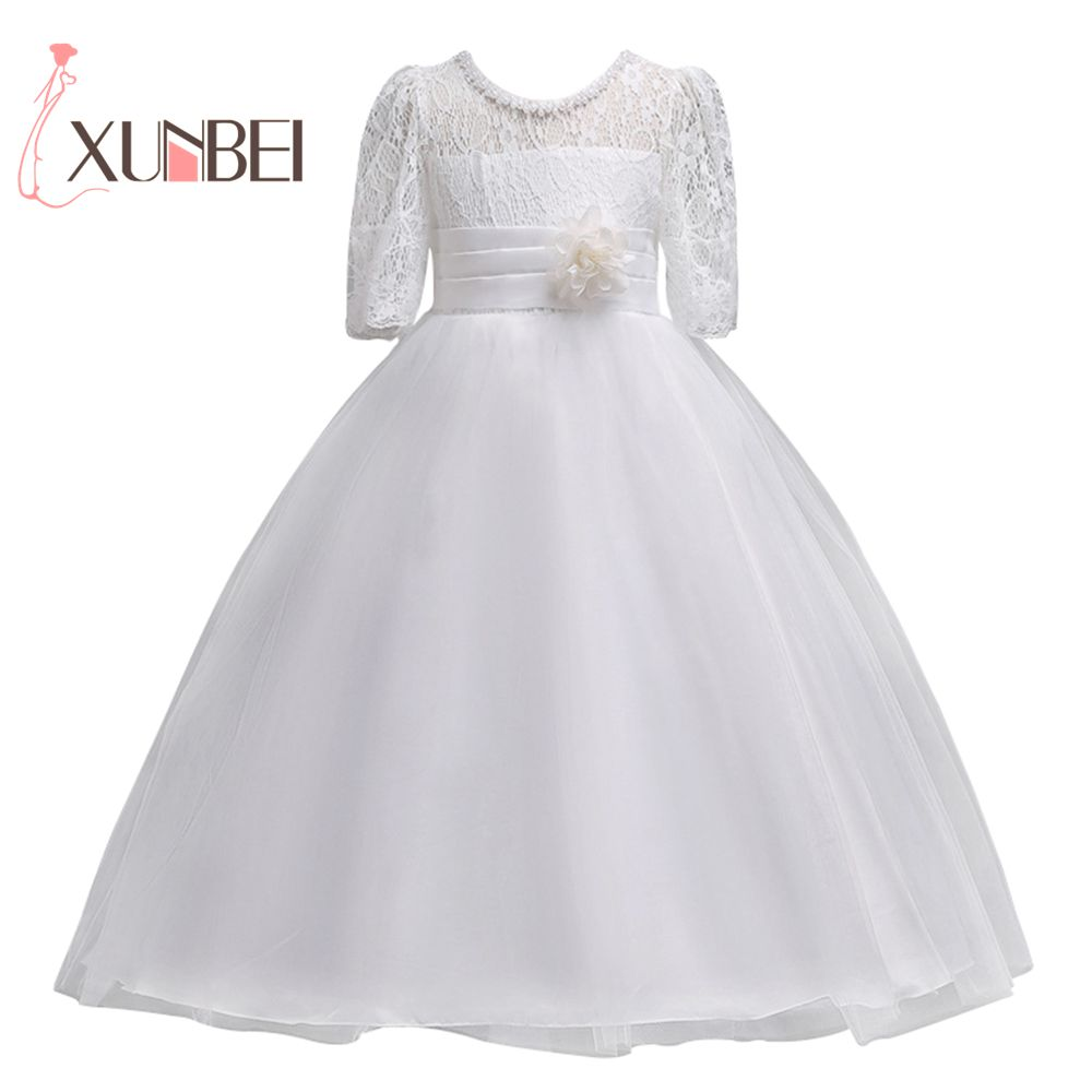Lovely White Lace   Flower     Girl     Dresses   2019 Half Sleeves   Girls   Pageant   Dresses   First Communion   Dresses   Party Gown